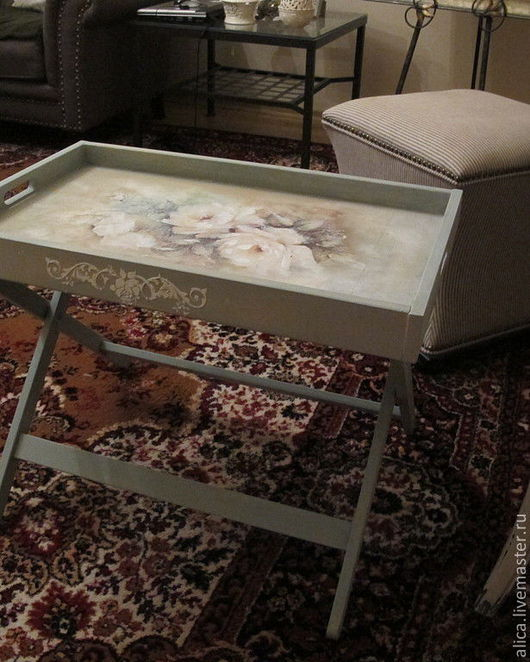Мебель ручной работы. Ярмарка Мастеров - ручная работа. Купить столик- поднос на ножках в стиле Прованс. Handmade. Голубой, прованс