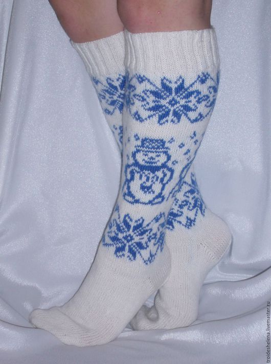 """Носки, Чулки ручной работы. Ярмарка Мастеров - ручная работа. Купить Гольфы """"Снежные"""". Handmade. Разноцветный, синий цвет, носки"""