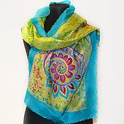 Аксессуары handmade. Livemaster - original item Blue yellow silk scarf batik, Mandala energy of nature, handmade Scarf. Handmade.