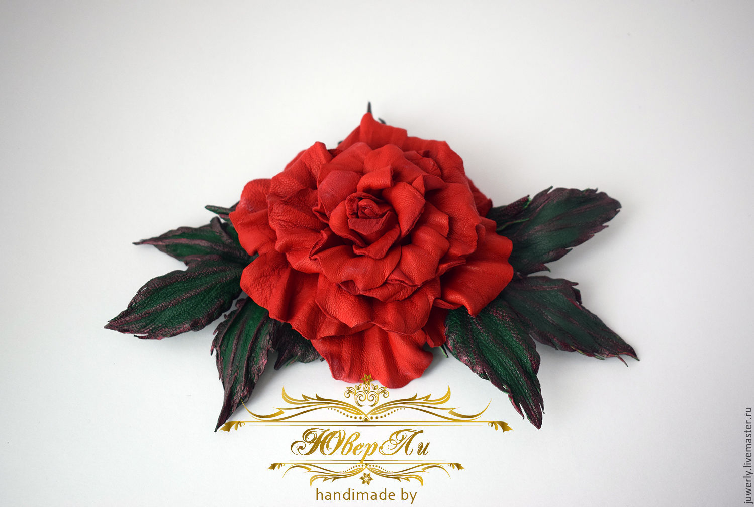 Brooch made of leather 'Red rose', Brooches, Minsk,  Фото №1