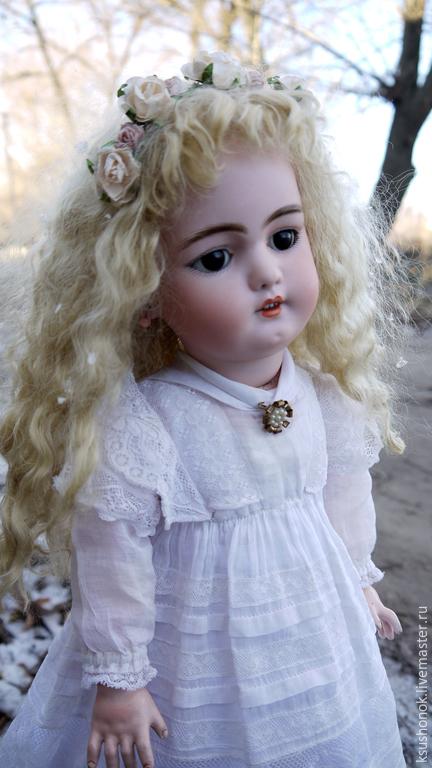 Куклы и игрушки ручной работы. Ярмарка Мастеров - ручная работа. Купить Парик для антикварной куклы.. Handmade. Бежевый, парик