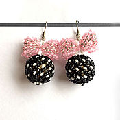 Украшения handmade. Livemaster - original item Earrings with bow black. Handmade.