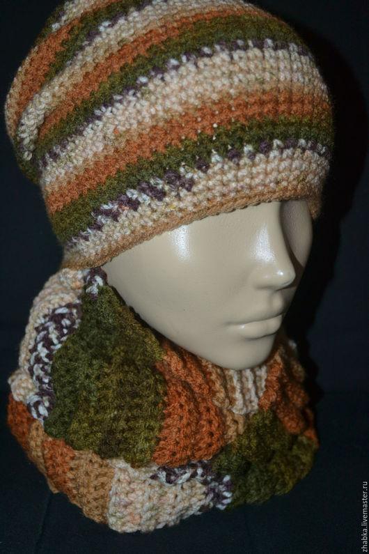 Шапки и шарфы ручной работы. Ярмарка Мастеров - ручная работа. Купить Комплект шапка-бини и снуд. Handmade. Шапка для мужчины