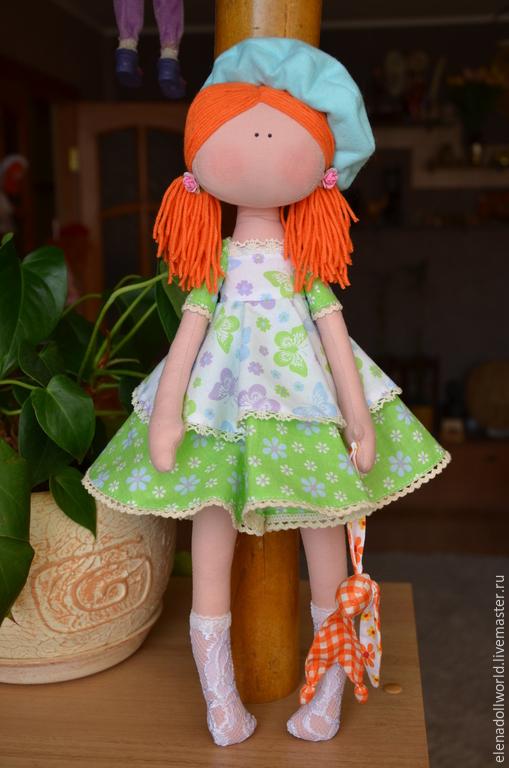 Куклы тыквоголовки ручной работы. Ярмарка Мастеров - ручная работа. Купить Кукла,,Мятка,,. Handmade. Мятный, берет, кукла рыжая