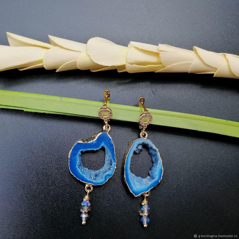 Asymmetrical earrings with blue agate geodes ' Bermuda', Earrings, Voronezh,  Фото №1