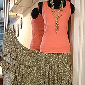 Одежда ручной работы. Ярмарка Мастеров - ручная работа Ярусная юбка из штапеля (мелкие цветы на оливковом). Handmade.