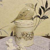 Для дома и интерьера handmade. Livemaster - original item Sugar bowl with a bird in the style of Provence. Handmade.
