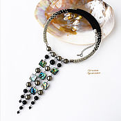 Украшения handmade. Livemaster - original item Choker necklace made of onyx, pyrite, mother-of-pearl seashell and beads. Handmade.