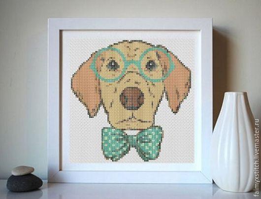 """Вышивка ручной работы. Ярмарка Мастеров - ручная работа. Купить Схема для вышивки крестом """"Пёс-хипстер"""". Handmade. Схема для вышивки"""