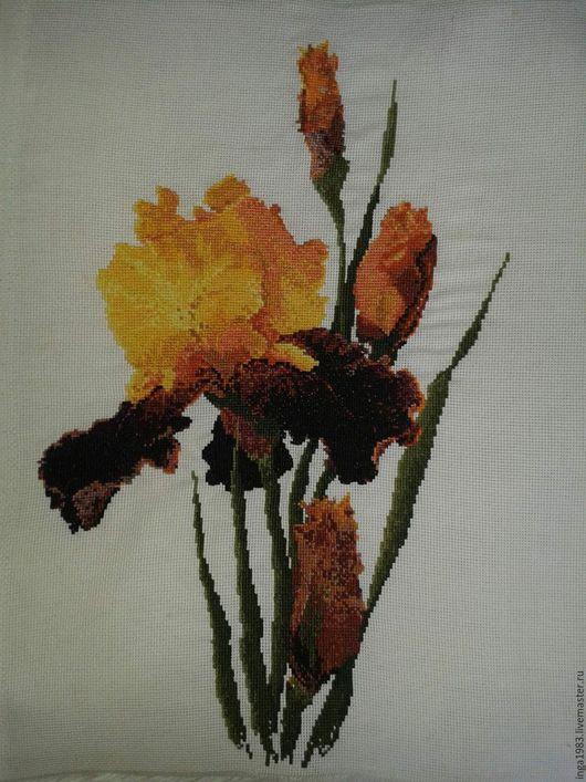 Картины цветов ручной работы. Ярмарка Мастеров - ручная работа. Купить Желтые Ирисы. Handmade. Ирисы, оранжевый, вышивка на заказ