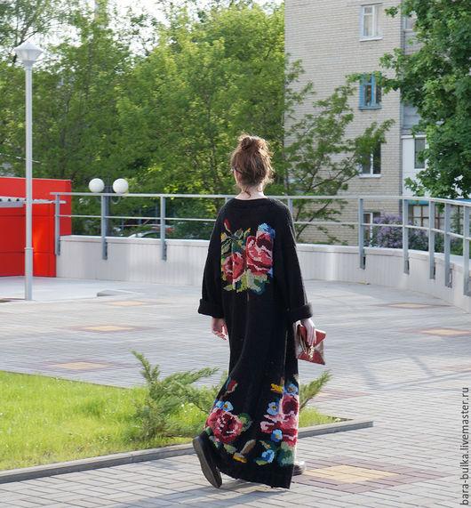 Кофты и свитера ручной работы. Ярмарка Мастеров - ручная работа. Купить Пальто вязанное с розами. Handmade. Черный, цветы