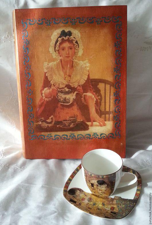 """Шкатулки ручной работы. Ярмарка Мастеров - ручная работа. Купить Шкатулка-книга для чайных пакетиков """"Чай подан"""". Handmade. Бордовый"""