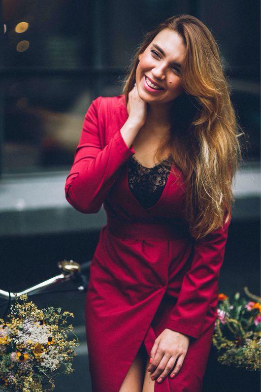 Платья ручной работы. Ярмарка Мастеров - ручная работа. Купить Шерстяное платье-кардиган. Handmade. Бордовый, нарядное платье