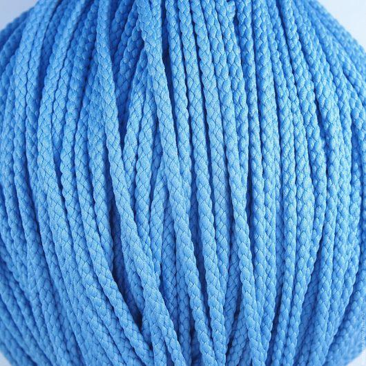 Для украшений ручной работы. Ярмарка Мастеров - ручная работа. Купить Шнур плетеный полиэфирный 3,5 мм голубой. Handmade.