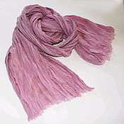 Аксессуары handmade. Livemaster - original item Linen scarf summer women boho pink and grey with cream beige. Handmade.