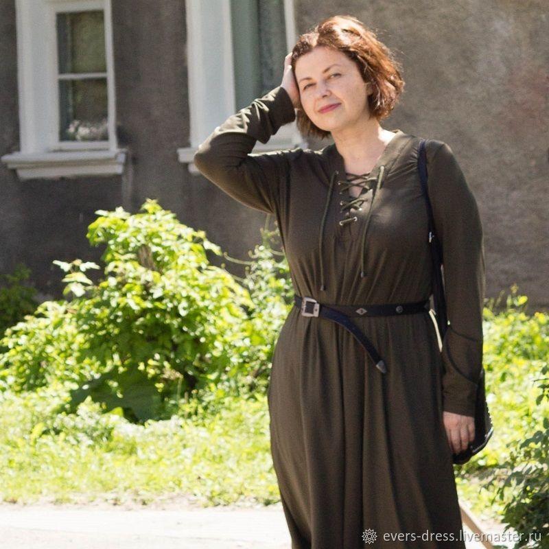 Стильное платье цвета хаки со шнуровкой, папоротник, длинное платье большого размера, платье из хлопка с длинным рукавом, платье из хлопка