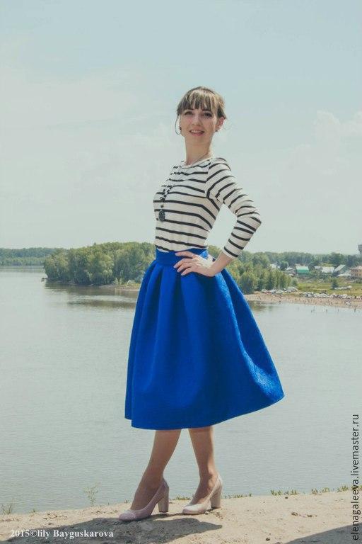 """Юбки ручной работы. Ярмарка Мастеров - ручная работа. Купить Юбка """"Синева"""". Handmade. Синий, юбка, юбка в складку, хлопок"""