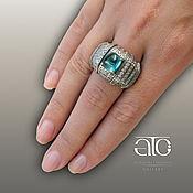 Украшения handmade. Livemaster - original item Gold ring with Apatite and diamonds.. Handmade.
