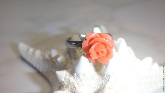 Кольца ручной работы. Ярмарка Мастеров - ручная работа. Купить Кольцо Роза из коралла. Handmade. Коралловый, роза, кольцо с кораллом