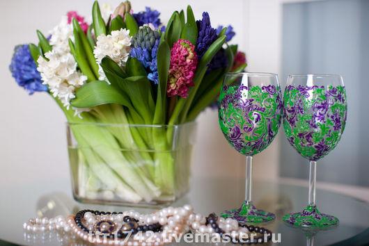 """Бокалы, стаканы ручной работы. Ярмарка Мастеров - ручная работа. Купить Бокалы для вина """"Весна"""". Handmade. Бокалы, бокалы с росписью"""