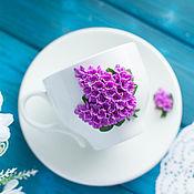 Чайные пары ручной работы. Ярмарка Мастеров - ручная работа Чайная пара Wilmax сирень из полимерной глины. Handmade.