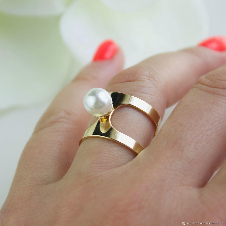 Широкое кольцо с жемчужиной 8 мм, Кольца, Москва,  Фото №1
