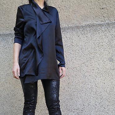 Одежда ручной работы. Ярмарка Мастеров - ручная работа Черная рубашка/Рубашка из шелка/F1598. Handmade.