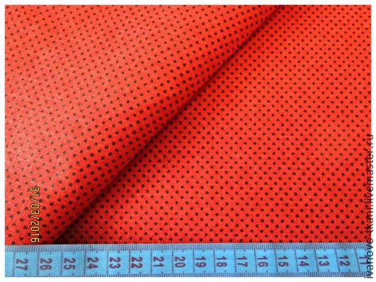 Ткань для пэчворка в мелкий горошек. Фон:красный, цвет горошка-черный.