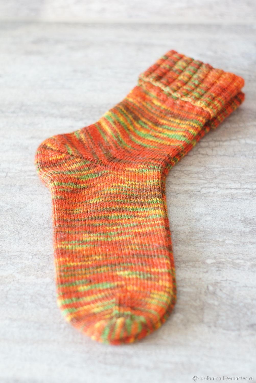 Носки вязаные женские с отворотом оранжевые, Носки, Липецк,  Фото №1