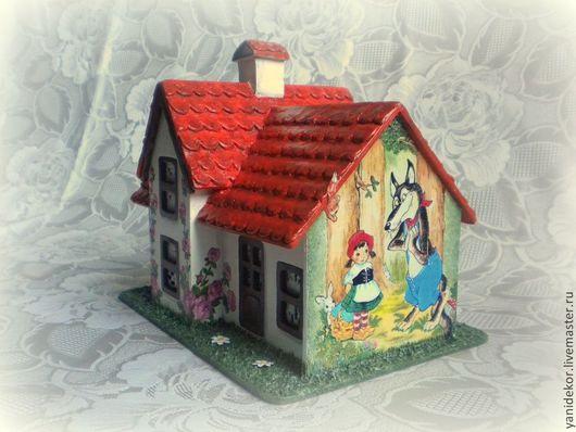 Деревянный домик В гости к бабушке. Деревянная игрушка декупаж. Чудесный подарок для Вашего ребенка.