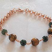 Украшения handmade. Livemaster - original item Men`s bracelet: tiger`s eye, moss agate in 925 silver gilt. Handmade.