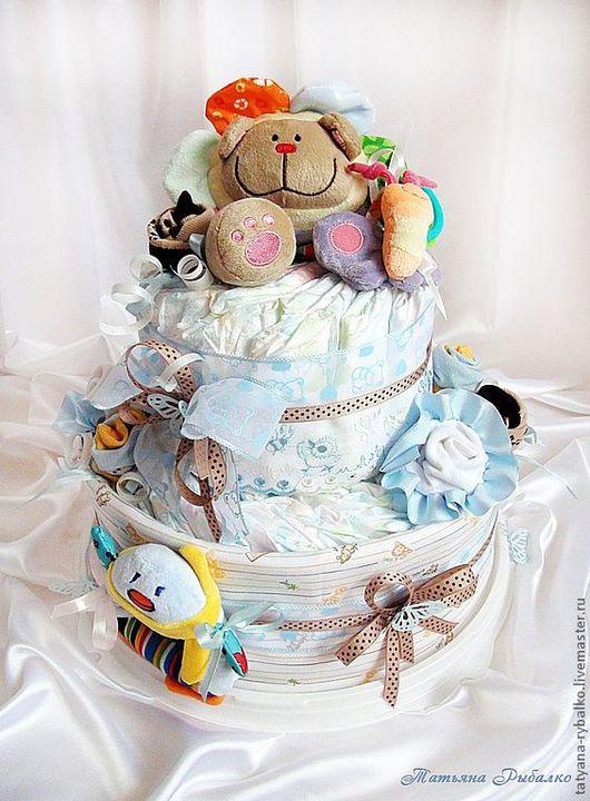 """Подарки для новорожденных, ручной работы. Ярмарка Мастеров - ручная работа. Купить Тортик из памперсов """"Для маленького ангелочка"""". Handmade."""