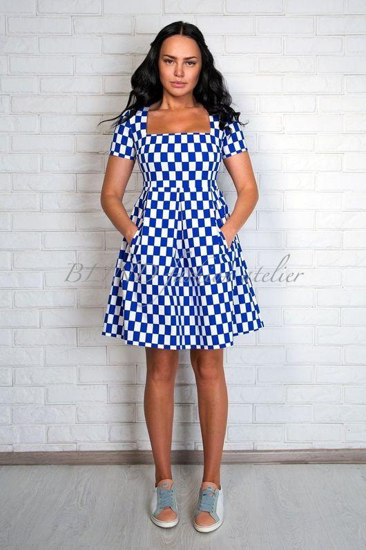 Платья ручной работы. Ярмарка Мастеров - ручная работа. Купить Платье 00255. Handmade. Синий, платье, blind