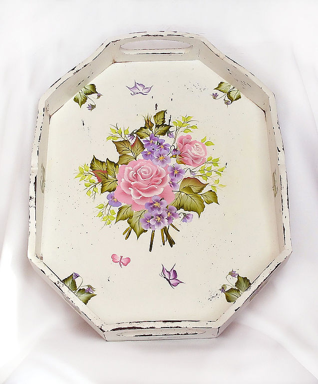 Tray shabby chic painted 'Charm', Trays, ,  Фото №1