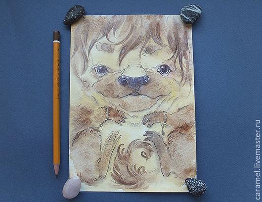 Животные ручной работы. Ярмарка Мастеров - ручная работа. Купить О, боже зверюга. Handmade. Бежевый, животные, кот, карандаш