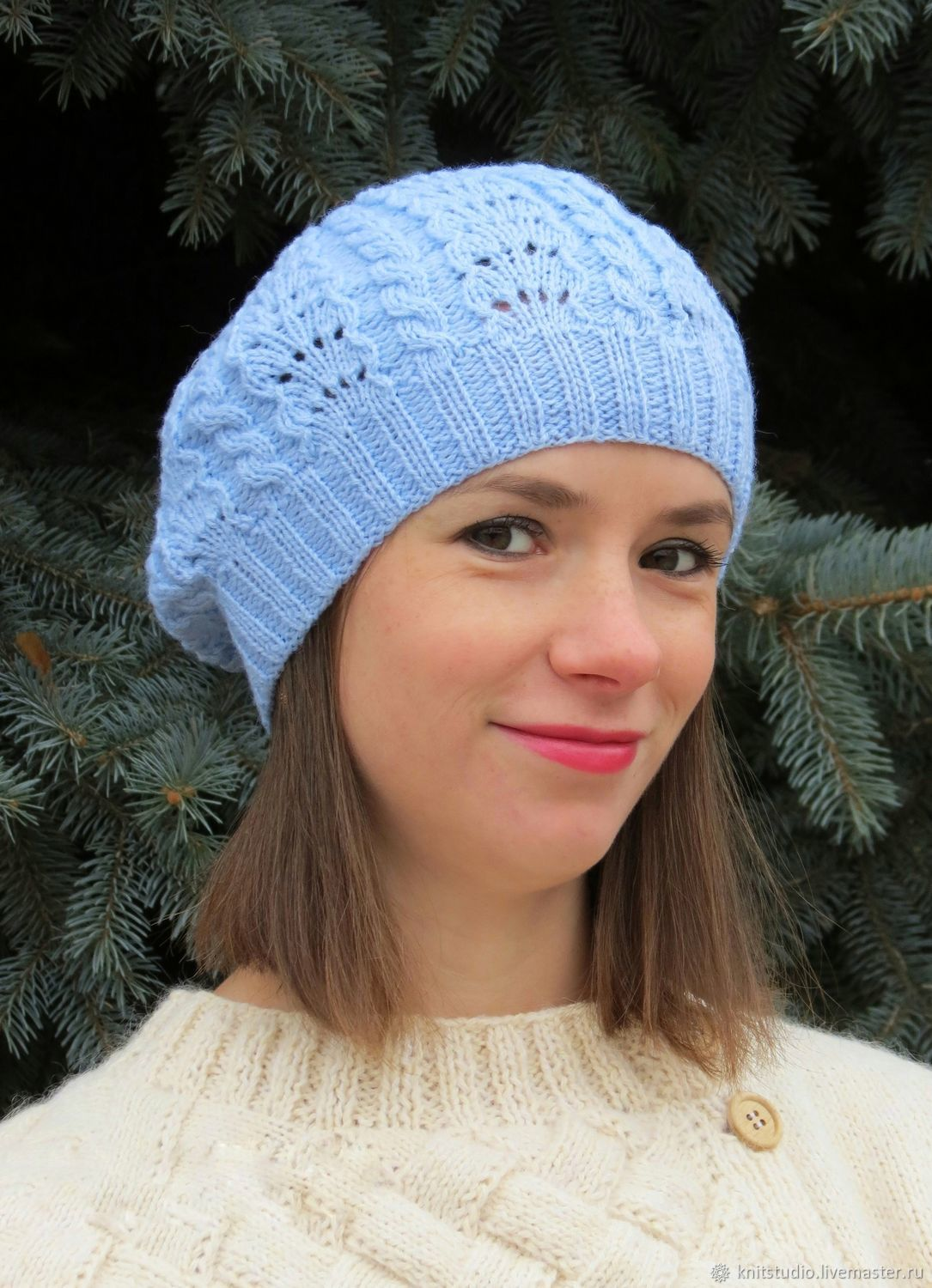 165998747ca97 Sweater Jackets   Sweaters handmade. Livemaster - handmade. Buy Spring blue  openwork knitted beret ...