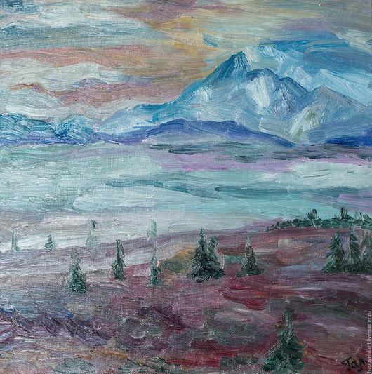 Пейзаж ручной работы. Ярмарка Мастеров - ручная работа. Купить Северные горы, картина маслом. Handmade. Синий, горы