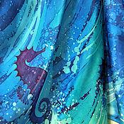 """Одежда ручной работы. Ярмарка Мастеров - ручная работа Батик парео """"Морская конница"""". Handmade."""