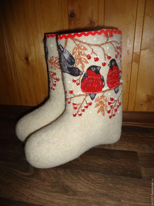 """Обувь ручной работы. Ярмарка Мастеров - ручная работа. Купить Валенки детские """"Снегири-3"""". Handmade. Белый, валенки с рисунком"""