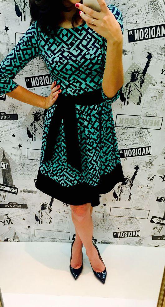 Платья ручной работы. Ярмарка Мастеров - ручная работа. Купить Платье мятное с орнаментом. Handmade. Тёмно-бирюзовый, красивое платье