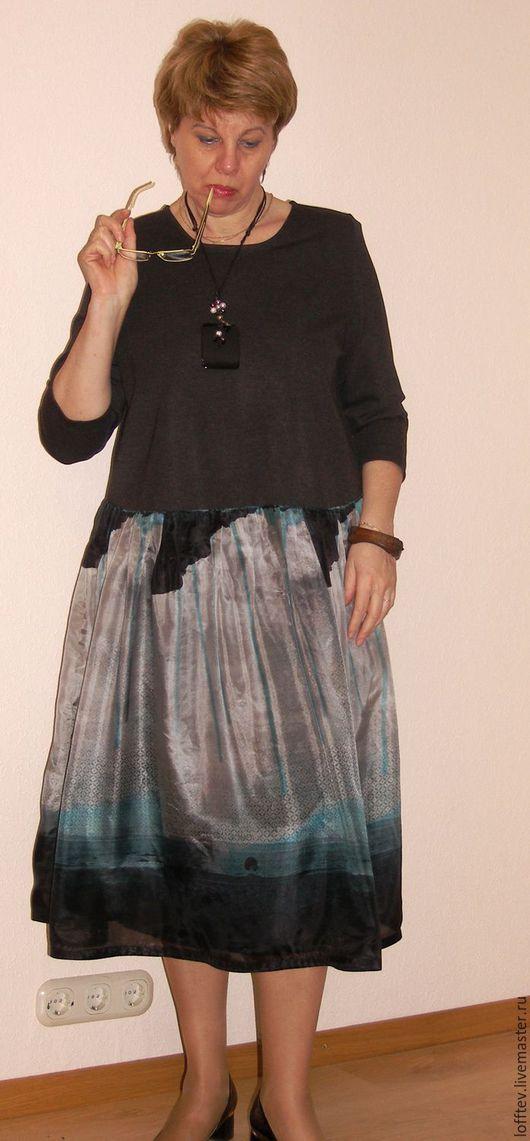Платья ручной работы. Ярмарка Мастеров - ручная работа. Купить Платье Бохо трикотаж джерси и шелк. Handmade. Темно-серый