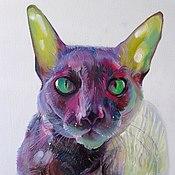 """Картины и панно ручной работы. Ярмарка Мастеров - ручная работа картина """"Кот """"масло. Handmade."""