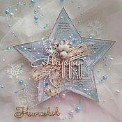 """Открытки ручной работы. Ярмарка Мастеров - ручная работа Новогодняя открытка """"Звезда"""". Handmade."""