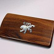 Подарки к праздникам handmade. Livemaster - original item Wooden business card holder made of walnut with pearl - lion inlay. Handmade.