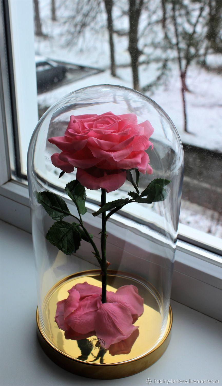 Роза из холодного фарфора в колбе, Цветы, Краснодар,  Фото №1
