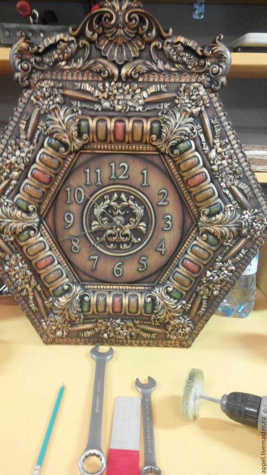Часы для дома ручной работы. Ярмарка Мастеров - ручная работа. Купить Часы. Handmade. Коричневый, часы настенные, массив дуба