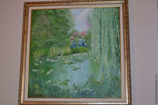 Пейзаж ручной работы. Ярмарка Мастеров - ручная работа. Купить Заросший пруд. Handmade. Зеленый, картина в подарок, вода, кувшинка