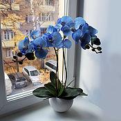 Цветы и флористика ручной работы. Ярмарка Мастеров - ручная работа Орхидея голубая латекс. Handmade.