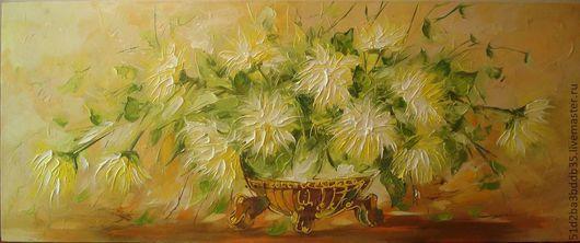 Картины цветов ручной работы. Ярмарка Мастеров - ручная работа. Купить Cолнечные хризантемы. Handmade. Картина, картина в подарок