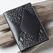 Канцелярские товары handmade. Livemaster - original item Black Grey Leather Passport Cover. Handmade.